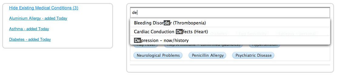 Medical History typing a condition's name