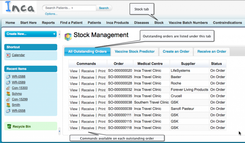 Stock Management: start screen